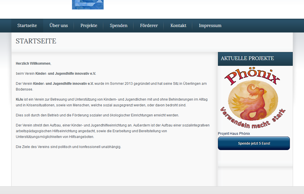 Homepage Kinder- und Jugendhilfeverein